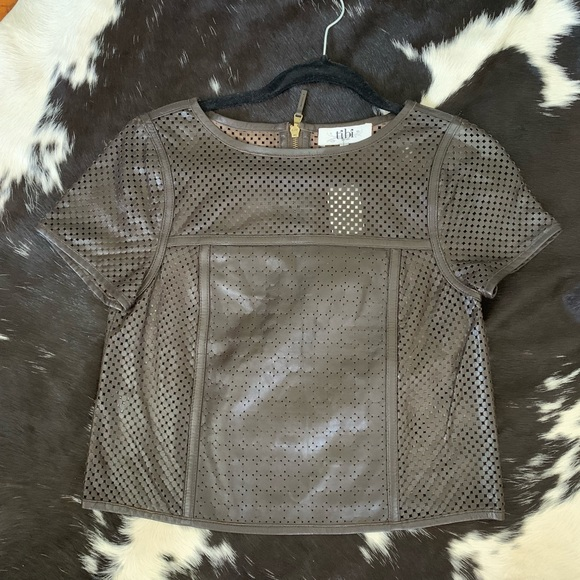 Tibi perforated brown leather crop top size 0 NWT